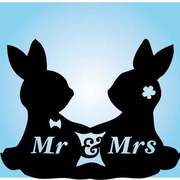 Rabbit silhouette wedding Cake Topper,  acrylic Wedding Cake Topper, mr and mrs cake topper, animal cake topper, acrylic topper