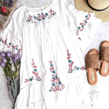 a night in santorini - floral embroidered dress - ivory