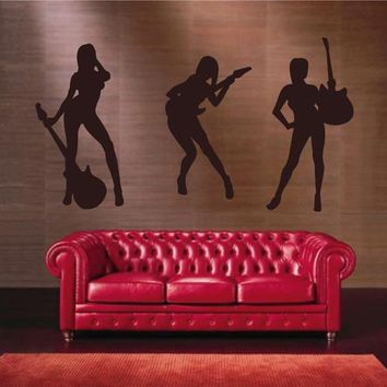 ik2607 Wall Decal Sticker girl rock band guitar heavy lounge music store