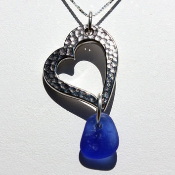 Blue Heart Sea Glass Necklace by SeaglassReinvented