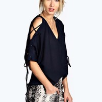 Lucie Lace Up Sleeve V Neck Blouse