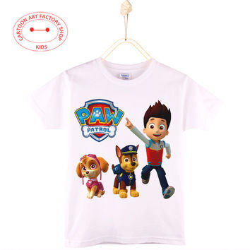 2016 New Children Clothing Paw Dog Kids T-Shirt Patrol Cotton Cartoon Print Boys T Shirts Girls Tops Baby Clothes Free Shipping