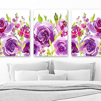 Pink Purple WATERCOLOR Floral Wall Art, Watercolor Flower Art, Watercolor Floral Pink Purple Nursery Decor, Set of 3 Canvas or Print Picture