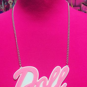 Acrylic PINK DOLL Necklace from Inked Doll Cosmetics