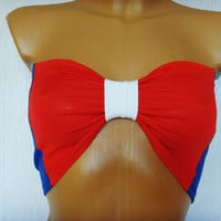 Sport Bandeau Underwear Yoga Beach Bra Tube Strapless Top Bralette In Blue Red And White Bow USA American Flag