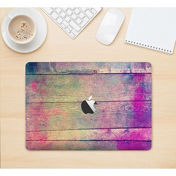 "The Pink & Blue Grunge Wood Planks Skin Kit for the 12"" Apple MacBook"
