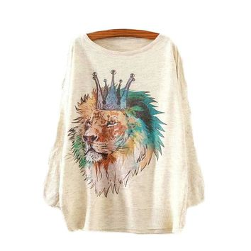 Lion King Printed Knitted Long Sleeve