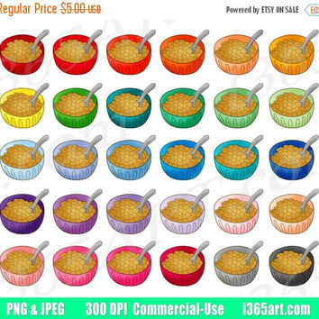 50% OFF SALE Cereal Clipart, Cereal Bowl Clip Art, Breakfast, Bowl Of Cereal, Good Morning, Planner Sticker Graphics, PNG, Commercial