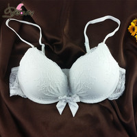 A B Cup White Super Push Up Bra Delicate Lace Plunge Bralette With Bow In Soft Nylon Bras For Women Soutien Gorge