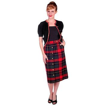 Vintage Pencil Skirt Red/Green/Black Plaid Wool  1980s 50s Look Small