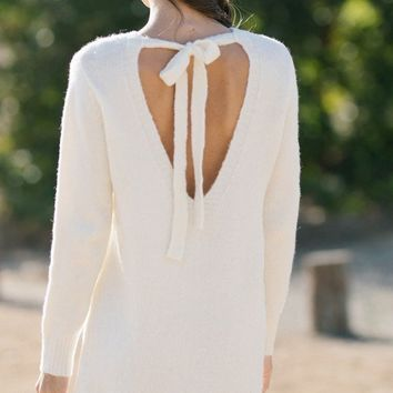 Nadia Ivory Bow Back Sweater Dress