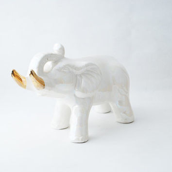 Vintage White Ceramic Elephant with Metallic Gold Dipped Tusks - Elephant Figurine, Chic Home Decor