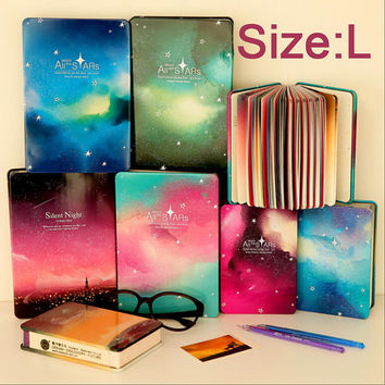 South Korea stationery Star Iron tin this page color hardcover diary notebook notepad blank book (Size L)TZ127