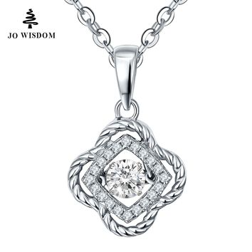JO WISDOM Hot Sale Silver Pendant Necklace Dancing Natural Stone with Natural Topaz with Silver Chain