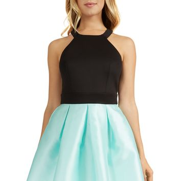 Teeze Me | Sleeveless Halter Top Color Block Party Dress | Black/Mint