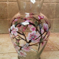 Hand Painted Cherry Blossoms Vase