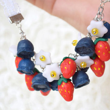 Girls Berry Fruit necklace,Kids clay necklace,Strawberry jewelry,blueberry,Forest red blue Berries,Polymer clay,Ceramic jewelry,teenagers