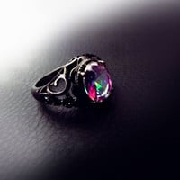 Vintage ring, Mystic topaz ring, gold filled ring, rainbow ring, black ring, rainbow topaz ring, vintage jewelry, estate jewelry, filigree