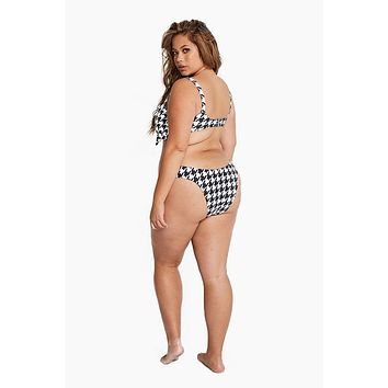 Monaco Cheeky Bikini Bottom (Curves) - Black Houndstooth