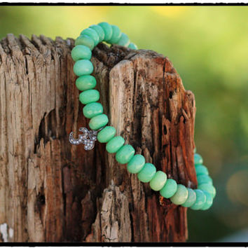 Vibrant Apple Green Chrysoprase Faceted Gemstones and Pave Diamond Ohm Charm, Upscale Yoga, Meditation Zen Stretch Bracelet, BohoChic Jewels