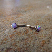 Purple Fire Opal 16G Ring, Naval Cartilage Helix Ear Cuff Eyebrow Conch Snug Rook, 316L Surgical Steel Piercing Body Jewelry