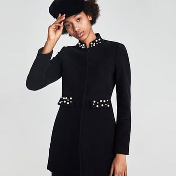MOLESKIN FROCK COAT WITH PEARL BEADS