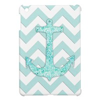 Glitter nautical anchor, teal blue chevron pattern iPad mini case from Zazzle.com
