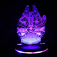 Star Wars Millennium Falcon Acrylic Light Display, Colour Changing LED Desk Lamp, Man Cave, Illuminated LED Faux Hologram, Multiple Options