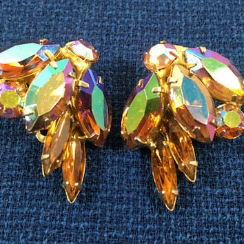 Vintage Weiss Earrings - Aurora Borealis Rhinestones - Clip ons with Prong Set Marquis & Chaton Rhinestones - Designer Signed Vintage 1950s