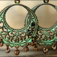 Verdigris Filigree Dangle Earrings