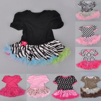 New Baby Ruffles Tutu Skirt Toddler Girls Romper One-Piece Outfit Dress 0-12M = 1958390340