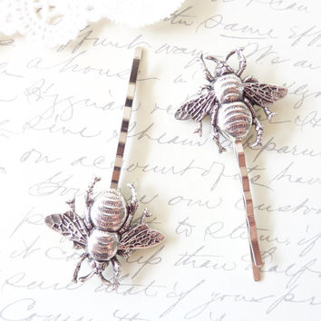 Ox Sterling Silver Bumble Bee Hair Pins - Silver Bumble Bee Bobby Pins - Bumblebee - Woodland - Nature Wedding Hair