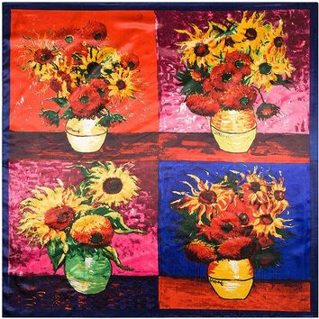 VONESC6 90cm*90cm European Van Gogh Four Sunflowers Printed Oil Painting style women silk satin large square scarf