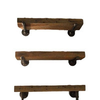 Reclaimed Wood Industrial Rustic Bathroom Shelving Shelf Set