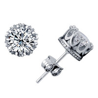 Sterling Silver Crown Diamond Earrings
