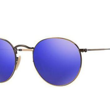 VLX85E Beauty Ticks Ray Ban Round Sunglass Brushed Bronze Blue Mirrored Rb 3447 167/68