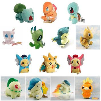 DCCKL72 Pikachu Charmander Bulbasaur Squirtle Snorlax Dragonite Cyndaquil Raichu Mew Plush Doll Toys for children Boys Girls Kids Gift