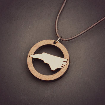 North Carolina State Necklace with option for Custom Personalization