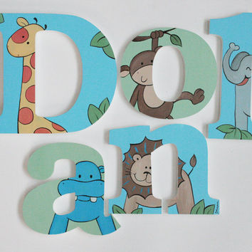 Bright Jungle Animal Wooden Wall Name Letters / Hangings / Hand Painted for Boys Rooms, Play Rooms and Nursery Rooms