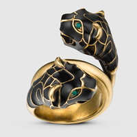 Gucci - tiger head ring with black enamel 402269I16358467