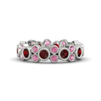 Platinum Ring with Red Garnet & Pink Tourmaline