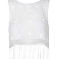 Fringe Embellished Crop Top - Topshop