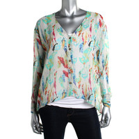 Rachel Rachel Roy Womens Hi-Low Long Sleeve Blouse