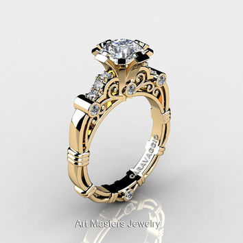Art Masters Caravaggio 14K Yellow Gold 1.0 Ct White Sapphire Diamond Engagement Ring R623-14KYGDWS