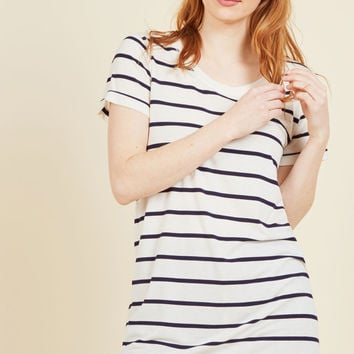 Simplicity on a Saturday Tunic in Navy Stripes | Mod Retro Vintage Short Sleeve Shirts | ModCloth.com