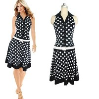 Zmart Women's Sleeveless Dot A-Line Dress