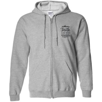 Faith Can Move Mountains Zip Up Hooded Sweatshirt