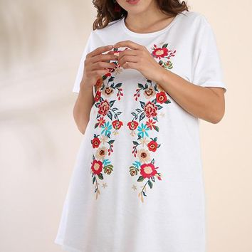 Embroidered Pocket Tee Dress - Off White