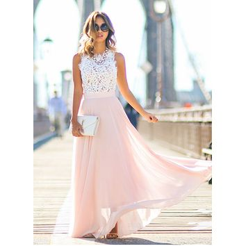 New Arrival 2019 Sring Evening Party Hollow Out Beach Dress Womens Boho Sleeveless Maxi Dress Party Dresses Dropshipping