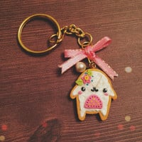 Kawaii Lolita Pink Little Girly Squash Polymer Clay Gold Key Chain